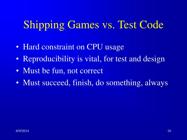 Shipping Games vs. Test Code