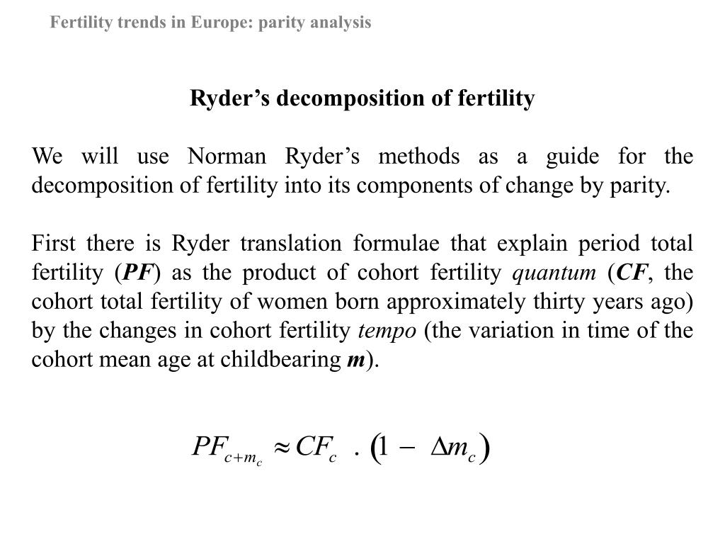 Ryder's decomposition of fertility