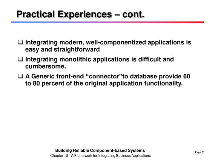 Practical Experiences – cont.