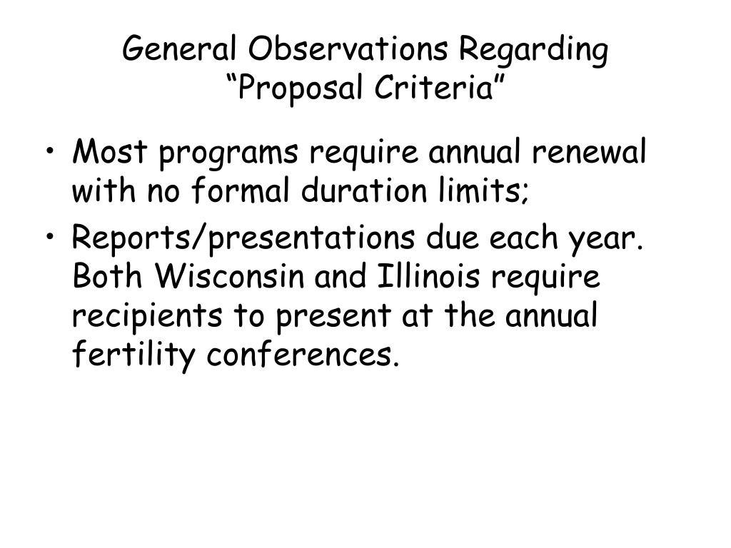 General Observations Regarding