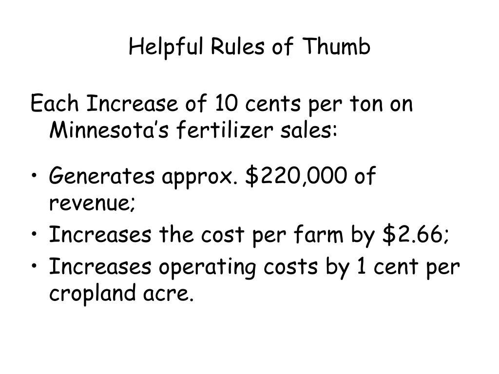 Helpful Rules of Thumb