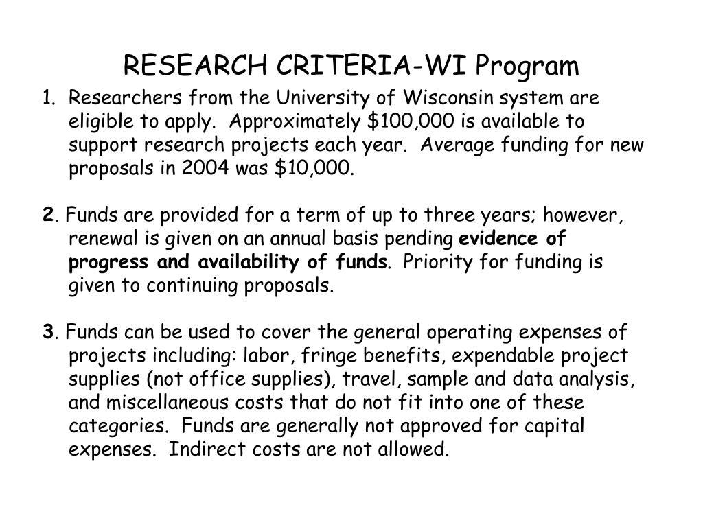 RESEARCH CRITERIA-WI Program