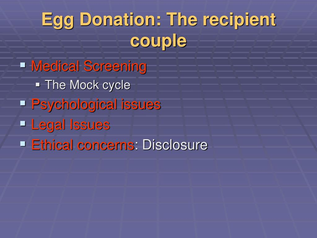 Egg Donation: The recipient couple