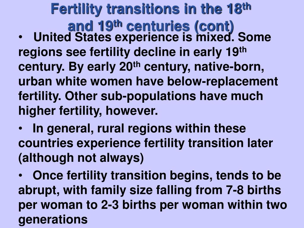 Fertility transitions in the 18