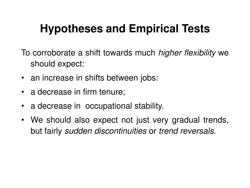 Hypotheses and Empirical Tests