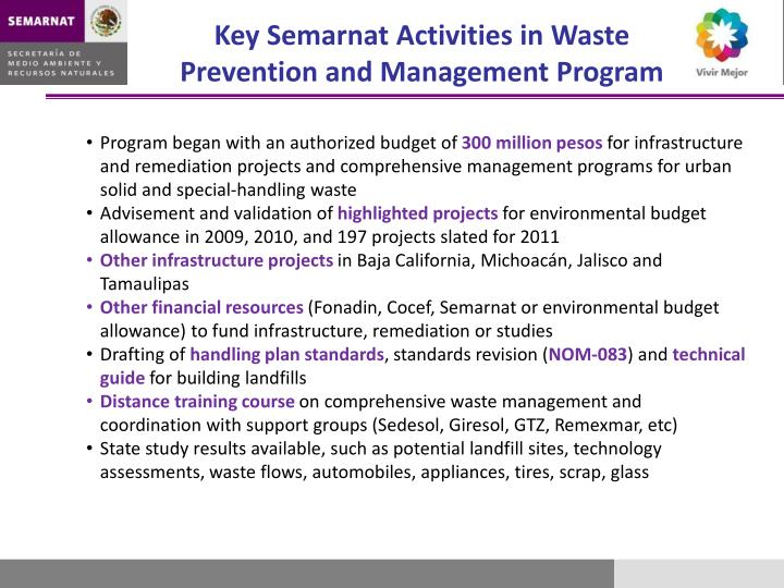Key Semarnat Activities in