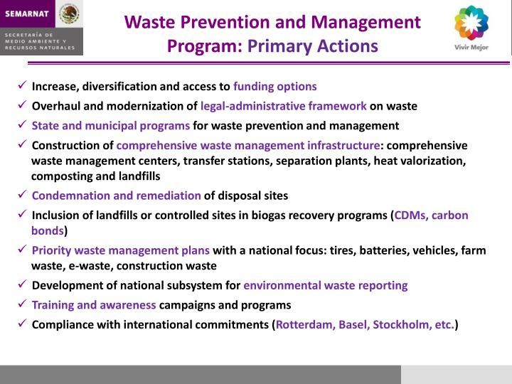 Waste Prevention and Management Program: