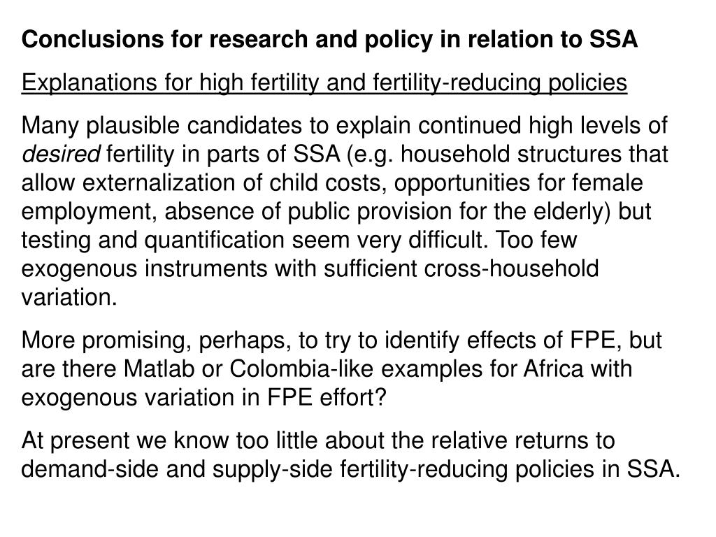 Conclusions for research and policy in relation to SSA