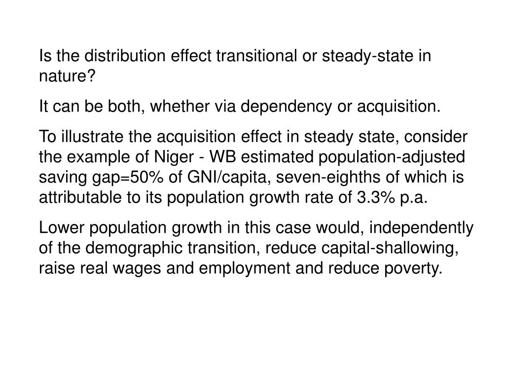 Is the distribution effect transitional or steady-state in nature?