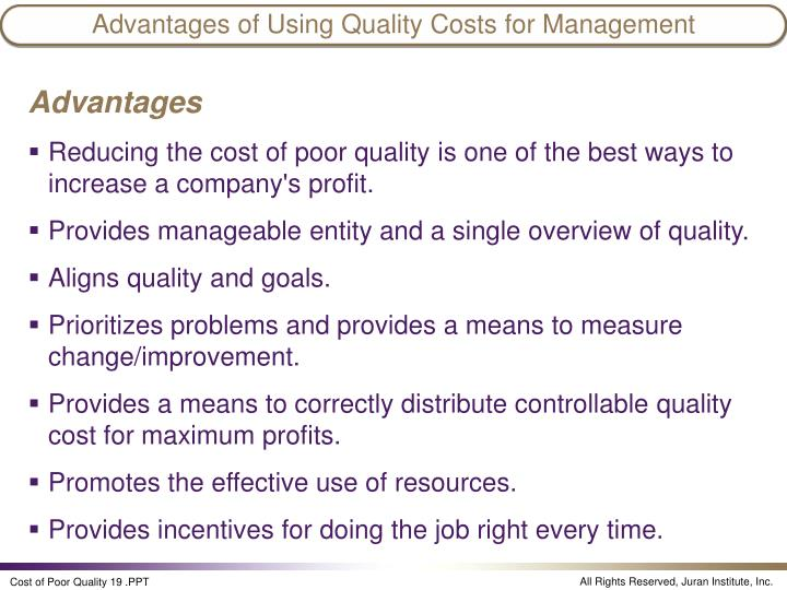 advantages and disadvantages of total quality management Define total cost of ownership for some other  advantages and disadvantages of construction management construction  total quality management essay.