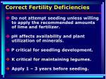correct fertility deficiencies