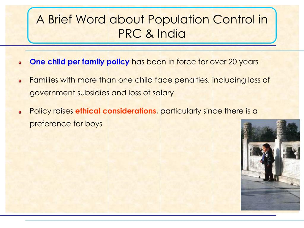 A Brief Word about Population Control in