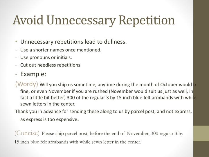 Avoid Unnecessary Repetition