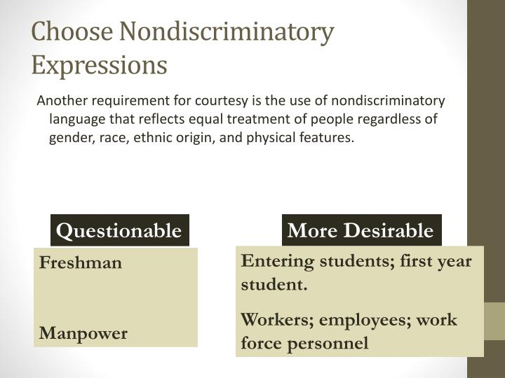Choose Nondiscriminatory Expressions