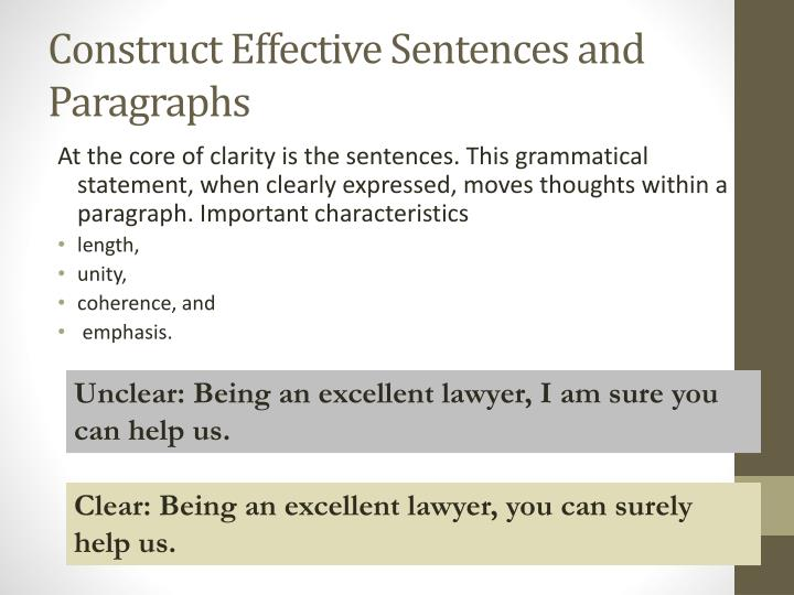 Construct Effective Sentences and Paragraphs