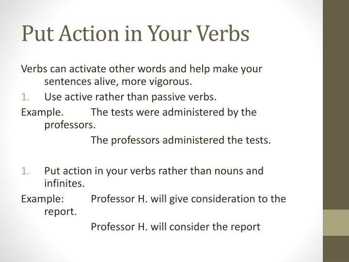 Put Action in Your Verbs