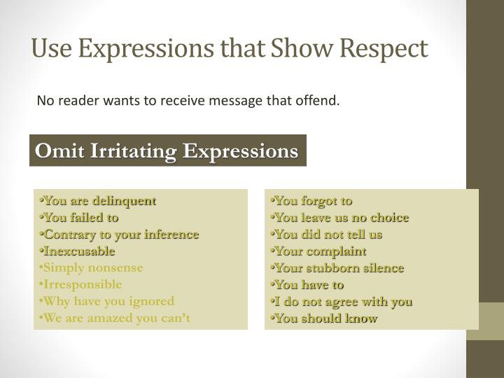 Use Expressions that Show Respect