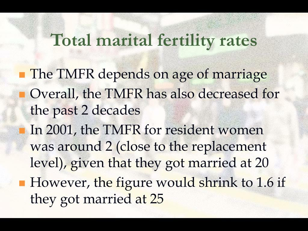 Total marital fertility rates