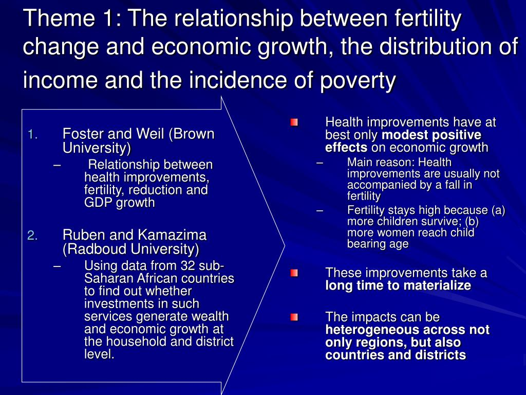 Theme 1: The relationship between fertility change and economic growth, the distribution of income and the incidence of poverty