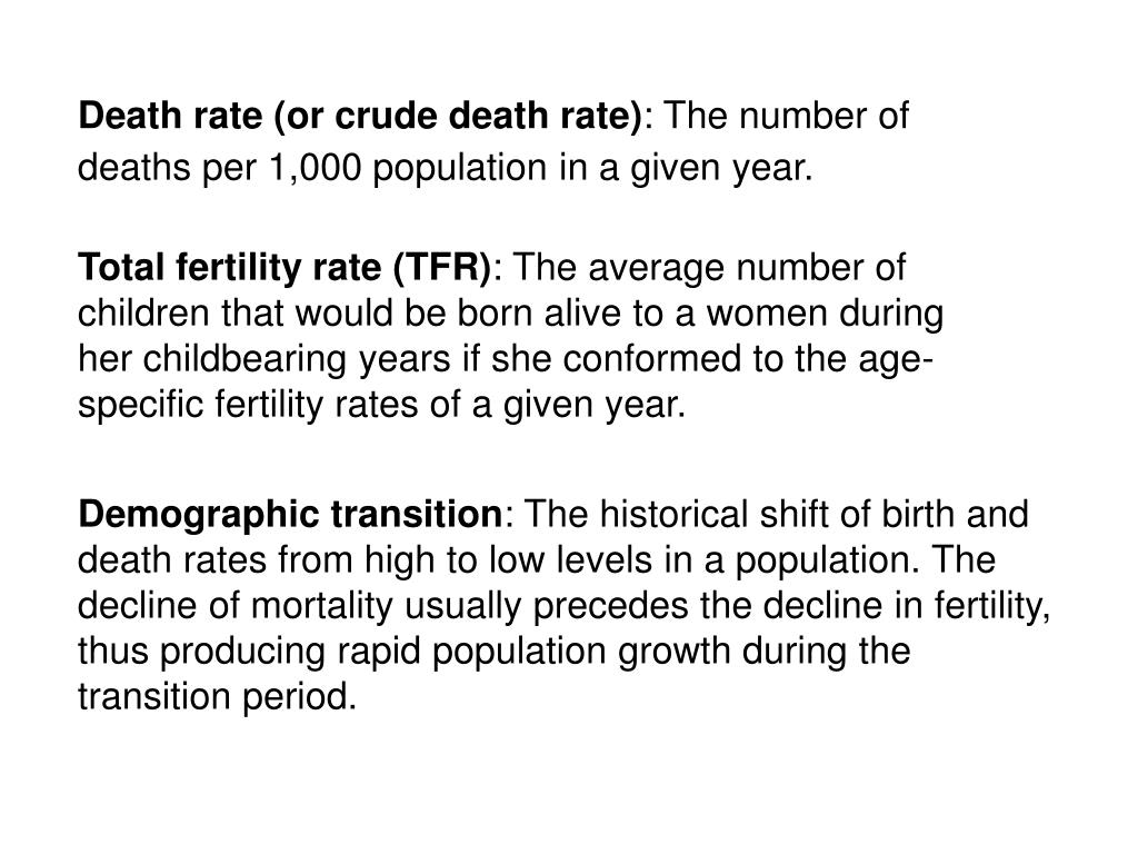 Death rate (or crude death rate)
