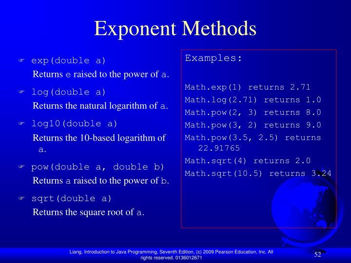 Exponent Methods