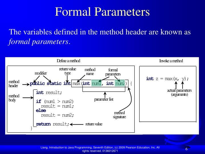 Formal Parameters