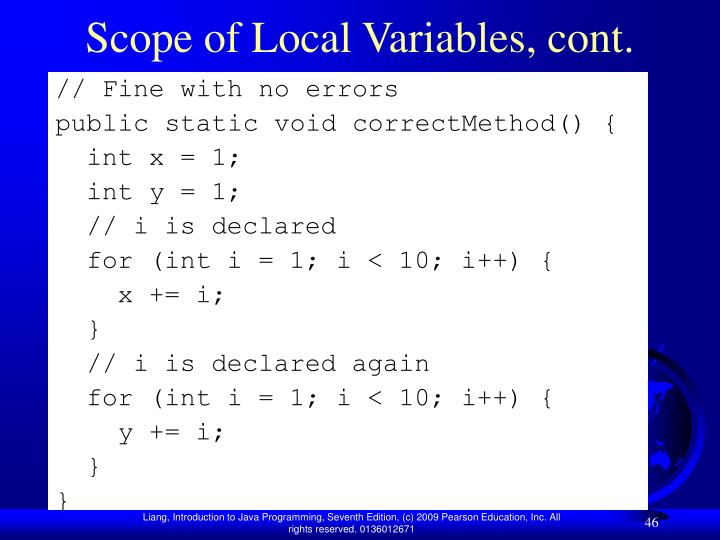 Scope of Local Variables, cont.