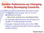 fertility preferences are changing in many developing countries
