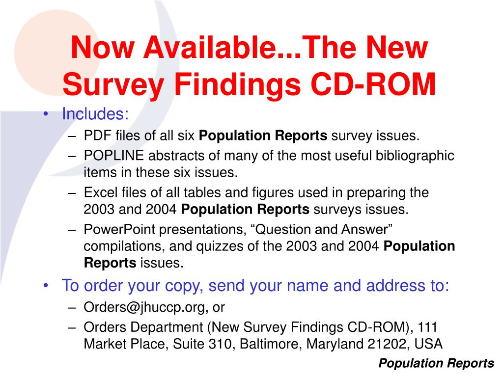 Now Available...The New Survey Findings CD-ROM