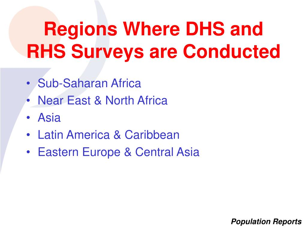 Regions Where DHS and RHS Surveys are Conducted