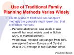 use of traditional family planning methods varies widely