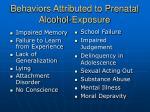 behaviors attributed to prenatal alcohol exposure