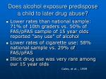does alcohol exposure predispose a child to later drug abuse42