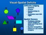 visual spatial deficits