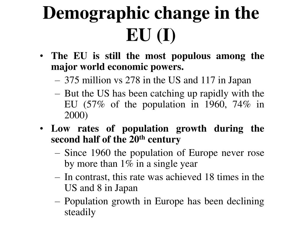 Demographic change in the EU (I)