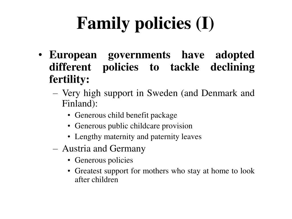 Family policies (I)