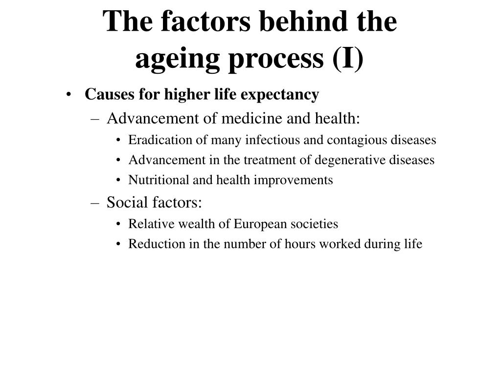 The factors behind the ageing process (I)