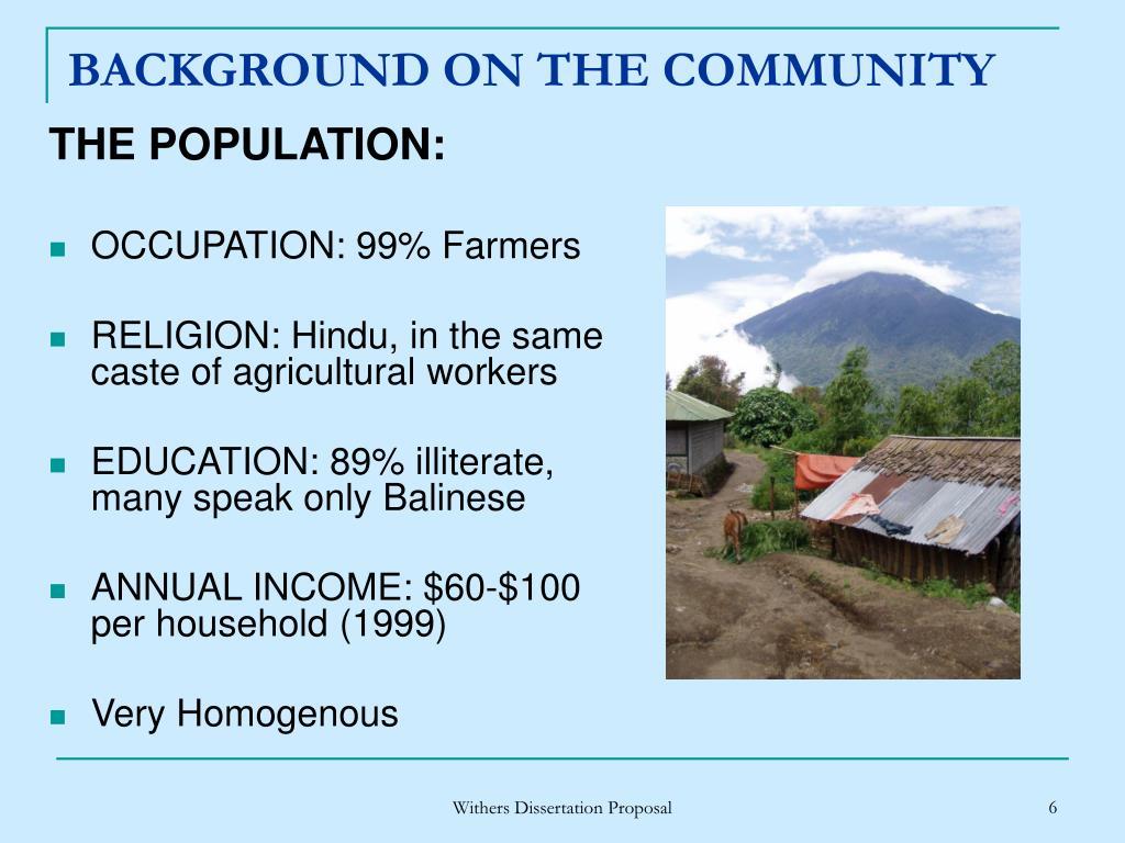 THE POPULATION: