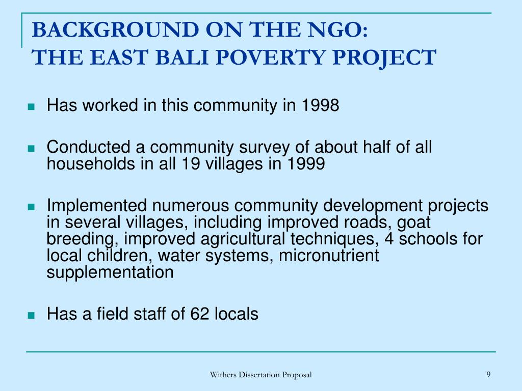 BACKGROUND ON THE NGO: