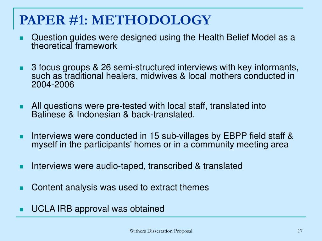 PAPER #1: METHODOLOGY