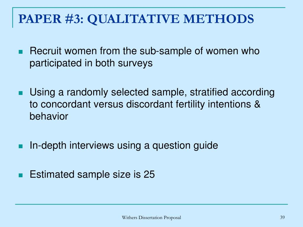 PAPER #3: QUALITATIVE METHODS