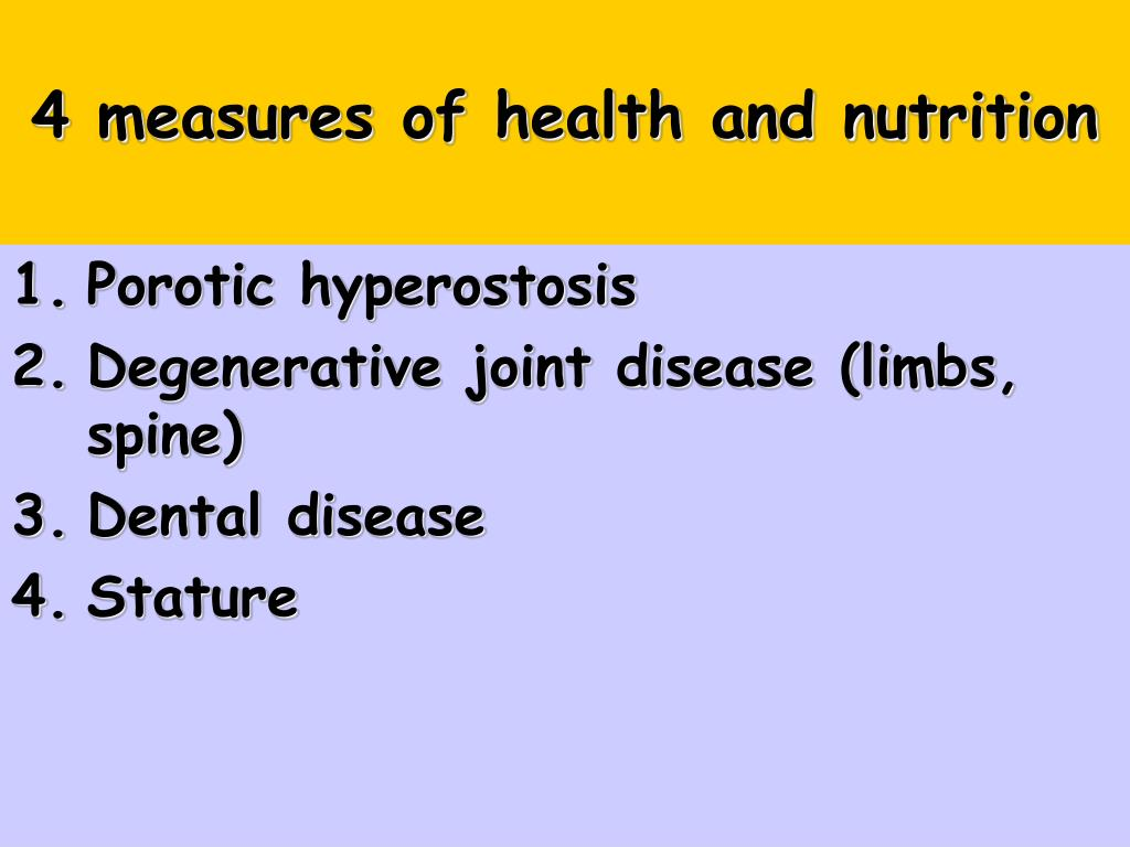 4 measures of health and nutrition