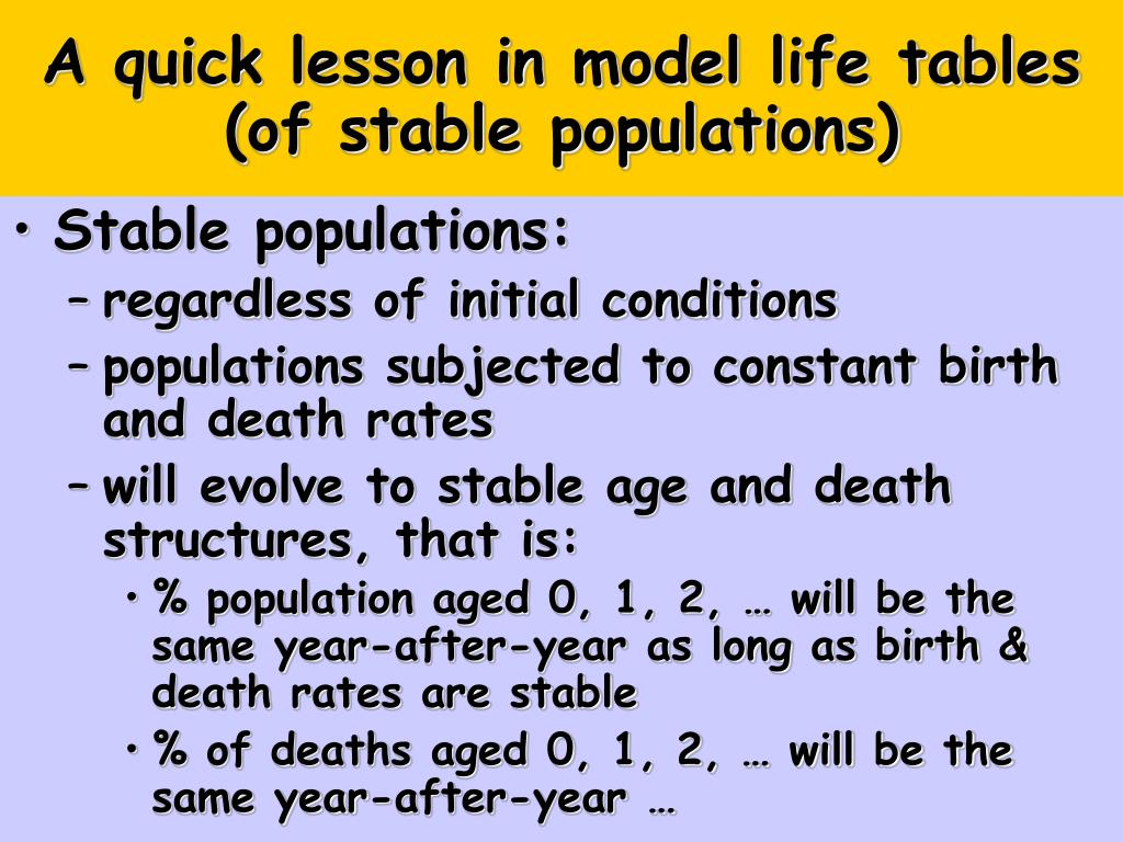A quick lesson in model life tables (of stable populations)