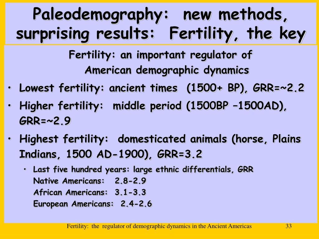 Paleodemography:  new methods, surprising results:  Fertility, the key