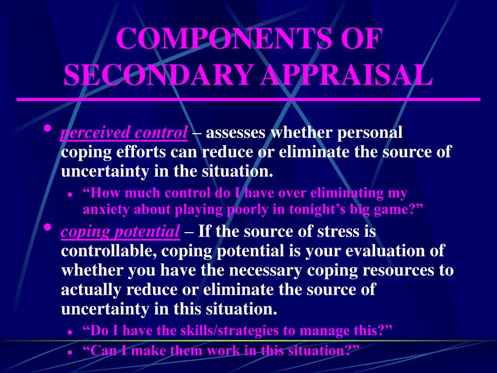 COMPONENTS OF SECONDARY APPRAISAL