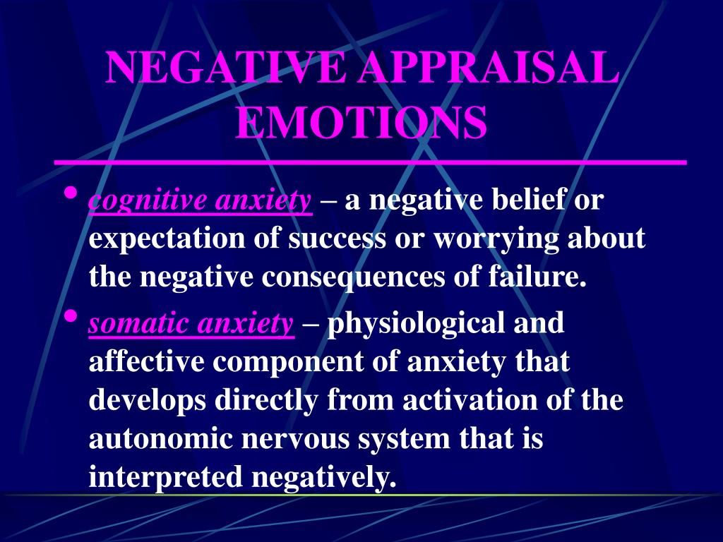 NEGATIVE APPRAISAL EMOTIONS
