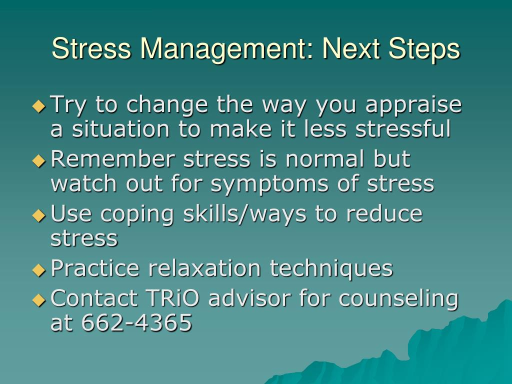 Stress Management: Next Steps