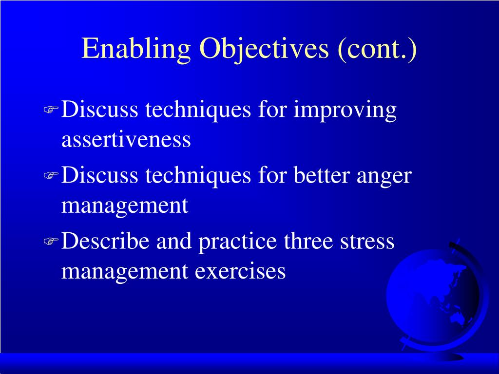 Enabling Objectives (cont.)