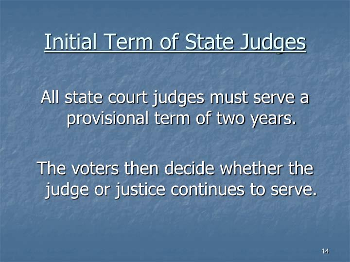 Initial Term of State Judges