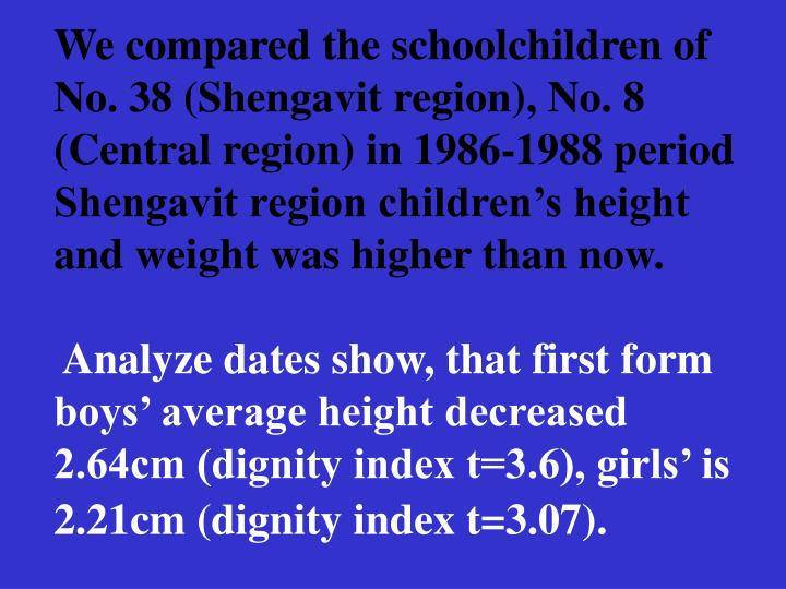 We compared the schoolchildren of No. 38 (Shengavit region), No. 8 (Central region) in 1986-1988 period Shengavit region childrens height and weight was higher than now.
